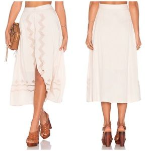 Tularosa Boone Skirt in Natural A-line Embroidered